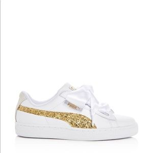 Puma Women's Basket Heart Leather & Glitter Shoe